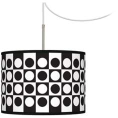 Black and White Dotted Squares Giclee Glow Swag Chandelier