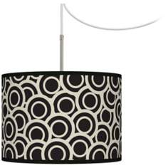 Black and Ivory Circlets Giclee Glow Swag Plug-In Chandelier
