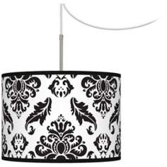 Black Filigree Giclee Glow Swag Style Plug-In Chandelier