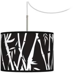 Night Bamboo Giclee Glow Swag Style Plug-In Chandelier