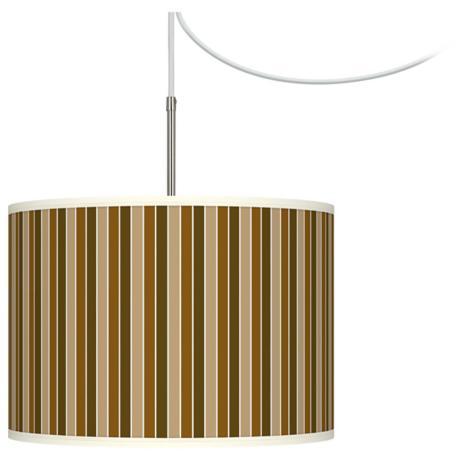 Umber Stripes Giclee Glow Swag Style Plug-In Chandelier