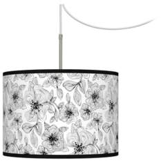 Stacy Garcia Linear Floral Giclee Glow Swag Plug-In Chandelier