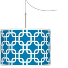 Blue Lattice Giclee Glow Swag Style Plug-In Chandelier