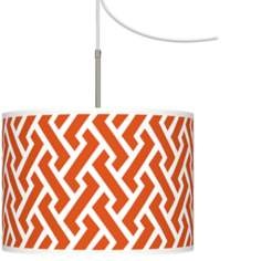 Red Brick Weave Giclee Glow Swag Style Plug-In Chandelier