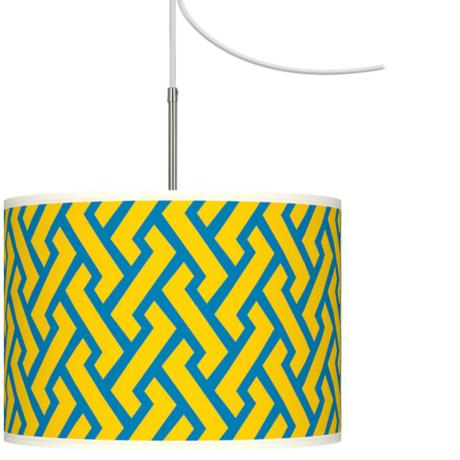 Yellow Brick Weave Giclee Glow Swag Style Plug-In Chandelier
