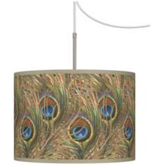 Iridescent Feather Giclee Glow Swag Style Plug-In Chandelier