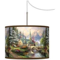 Thomas Kinkade Dogwood Chapel Giclee Plug-In Swag Chandelier