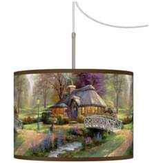 Thomas Kinkade Friendship Cottage Giclee Plug-In Swag Chandelier