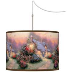 Thomas Kinkade Glory of Evening Giclee Plug-In Swag Chandelier