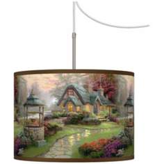 Thomas Kinkade Make A Wish Cottage Plug-In Swag Chandelier