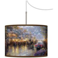 Thomas Kinkade Mountain Memories Giclee Plug-In Swag Chandelier