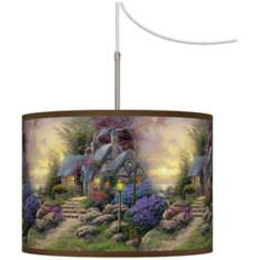 Thomas Kinkade Seaside Hideaway Giclee Plug-In Swag Chandelier