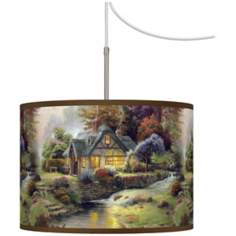 Thomas Kinkade Stillwater Cottage Giclee Plug-In Swag Chandelier