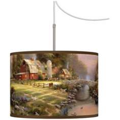 Thomas Kinkade Sunset at Riverbend Farm Plug-In Swag Chandelier