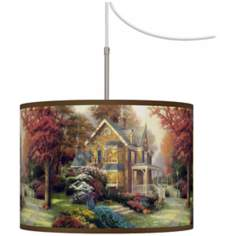 Thomas Kinkade Victorian Autumn Giclee Plug-In Swag Chandelier