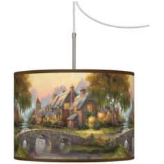 Thomas Kinkade Cobblestone Bridge Plug-In Swag Chandelier