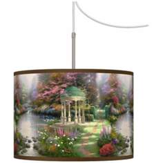 Thomas Kinkade The Garden of Prayer Plug-In Swag Chandelier