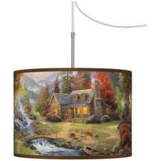 Thomas Kinkade Mountain Paradise Plug-In Swag Chandelier