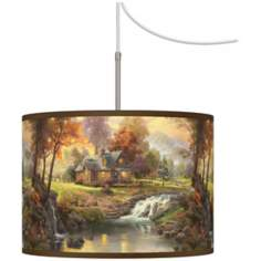 Thomas Kinkade Mountain Retreat Plug-In Swag Chandelier