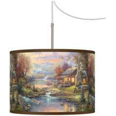 Thomas Kinkade Nature's Paradise Plug-In Swag Chandelier