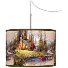 Thomas Kinkade A Peaceful Retreat Plug-In Swag Chandelier