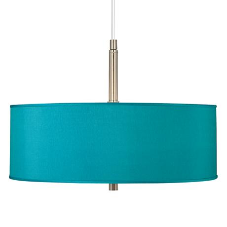 Teal Blue Faux Silk 16 Quot Wide Pendant Chandelier T6341