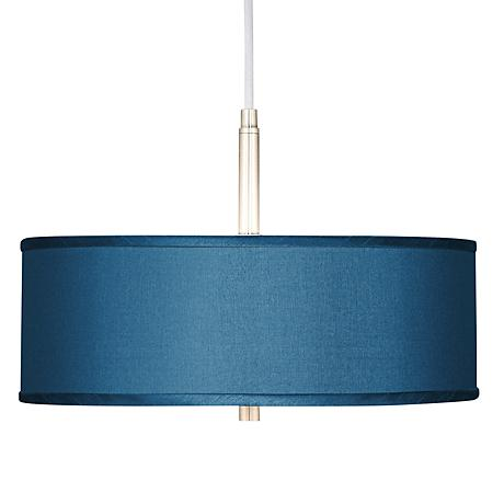 "Blue Faux Silk 16"" Wide Pendant Light"