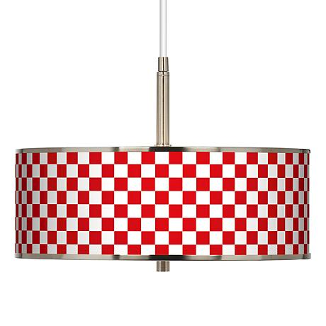"Checkered Red Giclee Glow 16"" Wide Pendant Light"