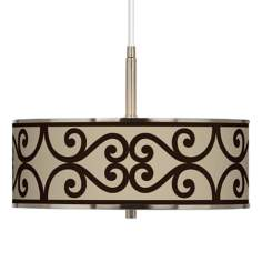 "Cambria Scroll Giclee Glow 16"" Wide Pendant Light"