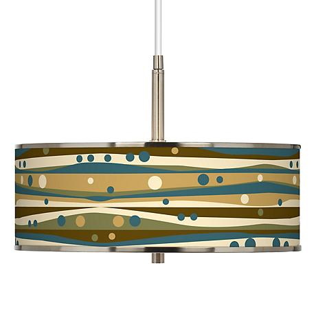"Dots and Waves Giclee Glow 16"" Wide Pendant Light"