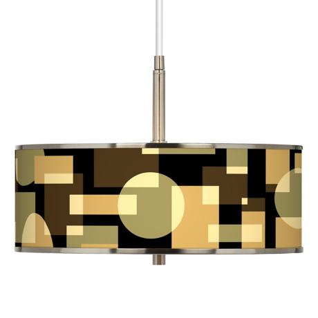 "Earthy Geometrics Giclee Glow 16"" Wide Pendant Light"