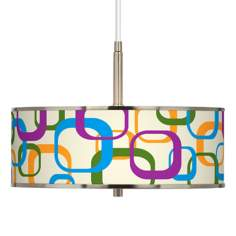 "Retro Square Scramble Giclee Glow 16"" Wide Pendant Light"