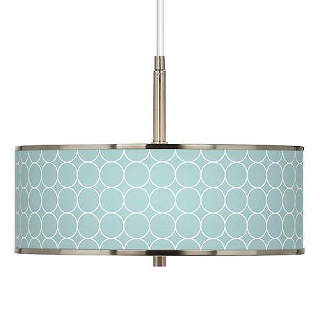 "Aqua Interlace Giclee Glow 16"" Wide Pendant Light"