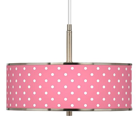 "Mini Dots Pink Giclee Glow 16"" Wide Pendant Light"