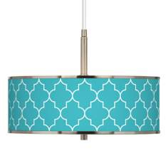 "Tangier Blue Giclee Glow 16"" Wide Pendant Light"