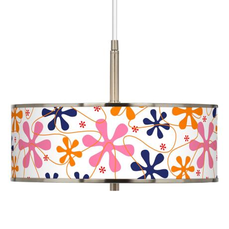 "Retro Pink Giclee Glow 16"" Wide Pendant Light"