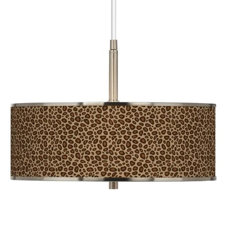 "Safari Leopard Giclee Glow 16"" Wide Pendant Light"