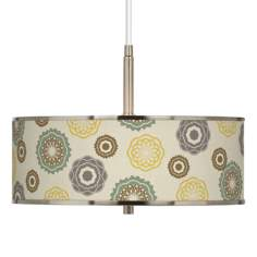 "Ornaments Linen Giclee Glow 16"" Wide Pendant Light"