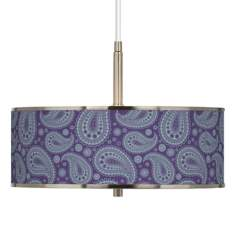 "Purple Paisley Linen Giclee Glow 16"" Wide Pendant Light"