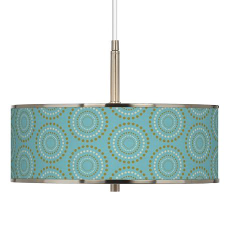 "Blue Calliope Linen Giclee Glow 16"" Wide Pendant Light"