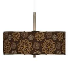 "Chocolate Blossom Linen Giclee Glow 16"" Wide Pendant Light"