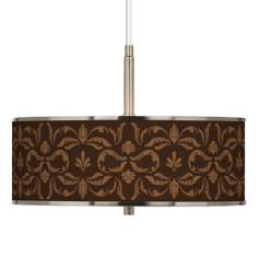 "Mocha Flourish Linen Giclee Glow 16"" Wide Pendant Light"