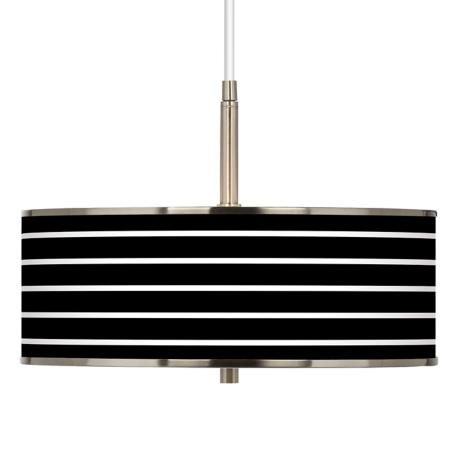 "Bold Black Stripe Giclee Glow 16"" Wide Pendant Light"
