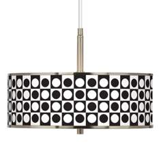 "Black and White Dotted Squares Giclee Glow 16"" Pendant Light"