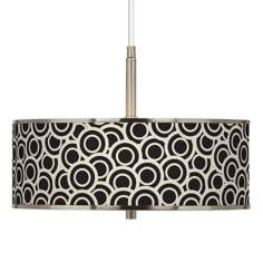 "Black and Ivory Circlets Giclee Glow 16"" Wide Pendant Light"