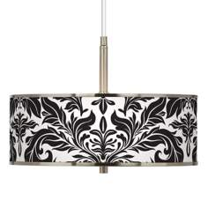 "Black Tapestry Giclee Glow 16"" Wide Pendant Light"