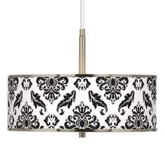"Black Filigree Giclee Glow 16"" Wide Pendant Light"