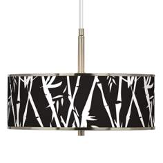 "Night Bamboo Giclee Glow 16"" Wide Pendant Light"