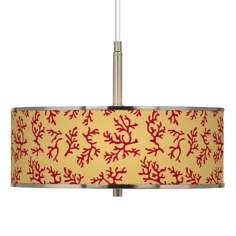 "Crimson Coral Giclee Glow 16"" Wide Pendant Light"