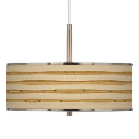"Bamboo Wrap Giclee Glow 16"" Wide Pendant Light"